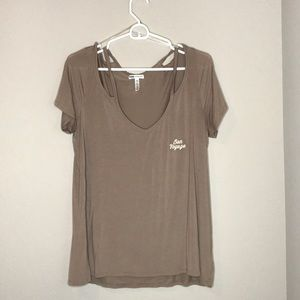 VS PINK Bon Voyage Tan Cutout Tee